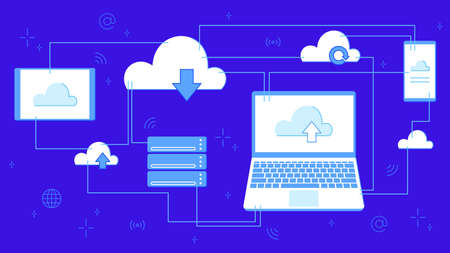Cloud storage for downloading. Digital service or application with data transfer. Networked computing technologies. Servers and data center connected to laptop banner vector illustration