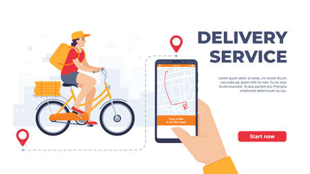 Delivery service application. Woman riding bicycle with food. Online service, courier with parcel on bike with pizza boxes. Hand holding smartphone tracking shipping landing page vector illustration.