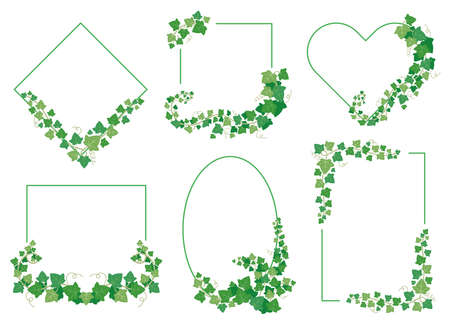 Ivy green leaves frames. Borders from evergreen plants of different shapes isolated on white background. Twig vine branches on rhombus, square, ellipse, heart and rectangle set vector illustration