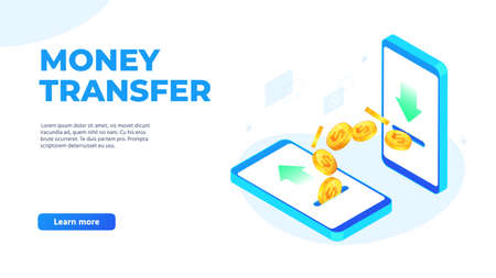 Money transfer on mobile phones. Dollar coins flying from one smartphone to other. Sending and receiving money wirelessly, bank payment application landing page vector illustration Ilustrace