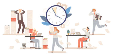 Office workers and business people working to meet deadline. Male and female character colleagues in stressful environment. Time management, employees under pressure vector illustration