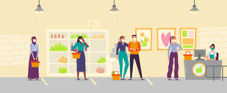 People in store line keeping social distance. Men and women wearing medical face mask buying food in supermarket. Safe distance. People with shopping baskets in queue, protected from virus vector Ilustrace