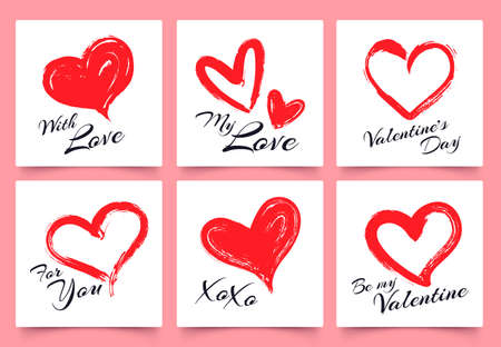 Valentines day greeting card with hand drawn grunge hearts. Elegant heart shapes with lettering with love, for you, xoxo. Couple holiday celebration, beloved gift set vector illustration