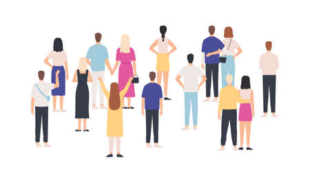 Crowd standing back view. Group of people from behind. Men and women meeting and looking. Gathering public, team or audience vector concept. Crowd woman and man, back illustration Ilustração