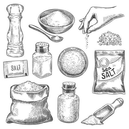 Salt sketch. Hand drawn spoon, bowl and bag with sea salting crystals for bath or cook. Salt shaker and arm with spice, engraving vector set. Sketch spoon with salt, bowl and shaker illustration