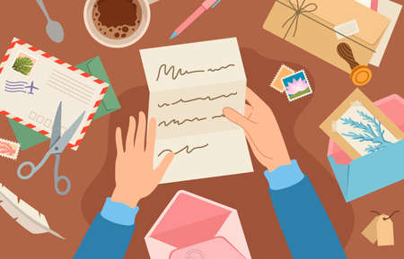 Hands holding mail on desk. Woman reading paper letter sheet. Card and envelope with postal stamp lie on table. Sending post vector concept. Illustration letter mail holding in hands