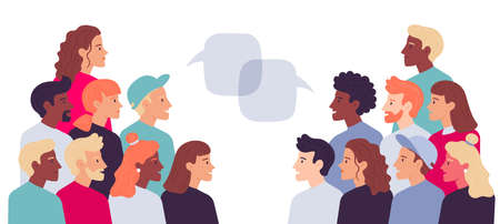 Two grouple of people talking with speech bubbles. Vector communication people speech, conversation man and woman dispute illustration