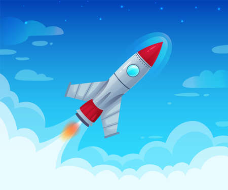 Flying spaceship with flame. Launching new business project or startup idea. Fast speed rocket flight in sky with clouds, futuristic exploration and technology progress vector illustration