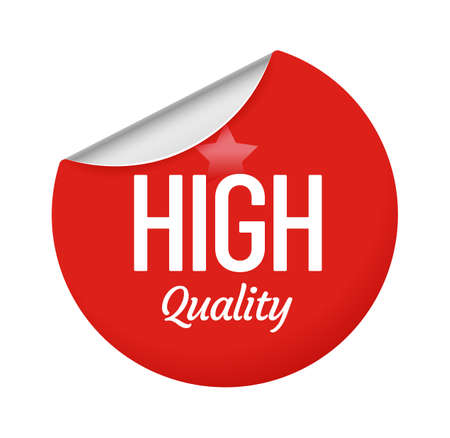 High quality sticker design with star. Red round label with curly edge. Circle paper badge for commerce campaign, offer for consumer isolated on white emblem cartoon vector illustration
