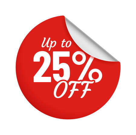 Discount for product up to 25 percent red sticker with bent edge. Sale promotion for shop or store circle badge isolated on white. Low pricing coupon for customer vector illustration