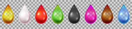 Realistic liquid drops. 3d droplets of water, blood, green and black tea, cream, petrol and oil. Pink and golden cosmetics drop vector set. Colorful dripping isolated liquid or fluid elements