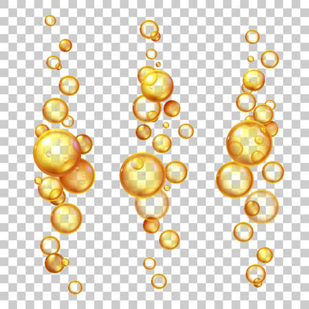 Oil bubbles. Gold cosmetic liquids with keratin, jojoba or collagen. Natural vitamin pills essence. Realistic 3d flying droplets vector set. Olive or fish oil, emulsion or fluid for medicine 矢量图像