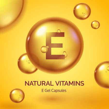 Capsule with vitamin E. Realistic gold pill. Cosmetic skin care product poster with oil drops and bubbles. Beauty and health vector concept. Medical supplement, organic tablet treatment 矢量图像