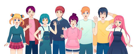 Group of anime characters. Young manga girls and boys friends in japanese comic style. Smiling korean male and female students vector set. Happy kawaii school people in casual clothing