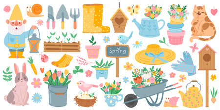 Spring elements. Blooming flower, cute animals and birds. Springtime garden decoration, birdhouse, tool and plants, drawn cartoon vector set. Wheelbarrow with tulips, leaves, boots