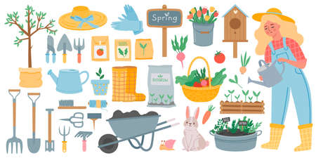Gardening tools. Spring garden equipment - hoe, fork, shovel and rake, wheelbarrow and seeds. Woman watering plants. Horticulture vector set. Rabbit and snail, basket with vegetables