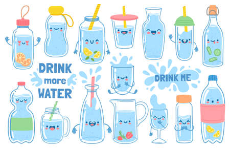Drink more water. Bottles, glass and jug with funny cartoon faces. Detox waters with lemon and mint. Motivation for health habit vector set. Smiling mouth on containers with straws and cap