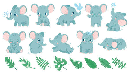 Baby elephants. Cute cartoon animal and tropical leaves. Baby shower elephant sleeps, sits and does water jet. Nursery decoration vector set for birthday invitation and greeting card