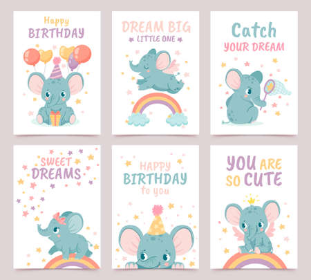 Nursery elephant posters. Animal decoration for baby shower and cartoon birthday cards. Elephants and rainbows prints for newborn vector set with balloons. Dream big, you are so cute