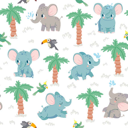 Baby elephants seamless pattern. Cartoon elephants in jungle with palm and parrots. Nursery fabric print with tropical animal vector texture. Beautiful mammal with water jet, flying bird