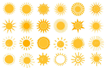 Cartoon sun icon. Flat and hand drawn summer symbols. Sunshine shape. Morning sun silhouettes and sunny day weather elements vector set. Bright orange sunlight with beams and rays