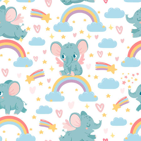 Elephants on rainbow seamless pattern. Magic animal print for kid nursery. Baby elephant in sky with clouds, stars and hearts vector texture. Childish characters for wrapping paper, wallpaper Ilustração