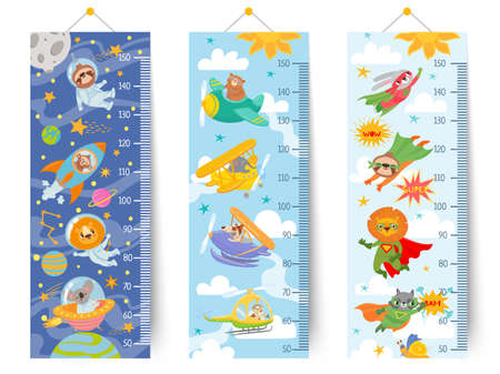 Kids height chart. Cartoon wall ruler for children with animals astronaut in space, pilots in sky and superheroes, sticker meter vector set. Growth measurement at school or kindergarten