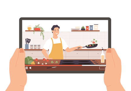 Cooking video. Hands holding tablet with culinary broadcast, show or online lesson. Chef preparing food in kitchen interior vector concept. Man character in apron frying vegetables on pan