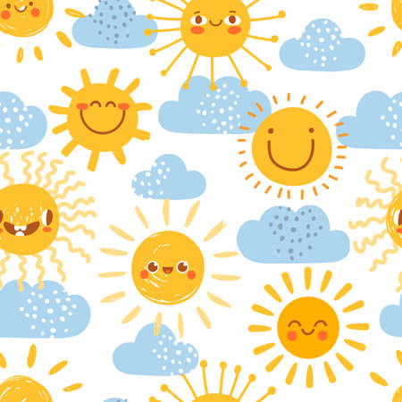 Cartoon sun seamless pattern. Print for nursery with summer sunny day sky with clouds. Cute baby sunshine with funny emoji faces vector set. Warm weather elements for kids wallpaper