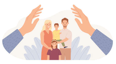 Family protection. Hands protect parents and children. Father, mother, daughter and son safe. Family health care and support vector concept. Kids and wife with husband hugging together