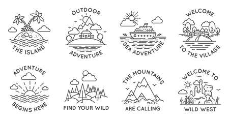 Adventure line badges. Outdoor travel   emblems with mountain, cabin in forest, tropical island, village and ocean liner, vector set. Welcome to Wild West, sea trip or journey