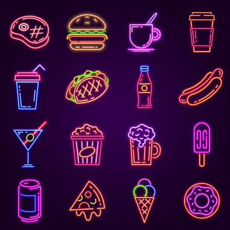 Neon fast food. Glowing icon for cafe and bar street sign with burger, popcorn, hot dog, coffee and pizza. Cocktail and beer club vector set. Menu for street dishes, glowing advertisement Ilustração