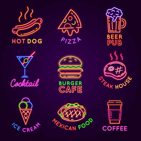Cafe neon signs. Food and drink glowing light billboards. Burger and pizza restaurant, beer pub, steak house and coffee bar sign vector set. Advertisement for selling ice cream and cocktail Ilustração