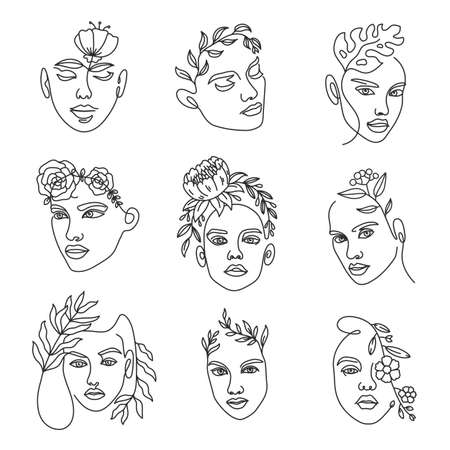 Female face line with flowers. Continuous lines art with woman minimalist portraits with bouquet in hairs. Fashion beauty vector set. Elegant art for countour tattoo and advertisement Ilustração