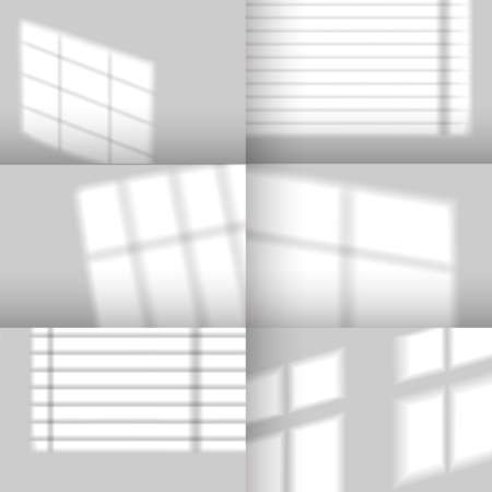 Window shadows. Realistic overlay shadow effect from jalousie. Natural sunlight from windows on walls mockup for product scene, vector set. Reflection of light on gray empty room wall 矢量图像