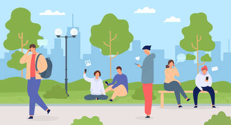 People with phones in city. Men and women in park using gadgets. Crowd in town nature. Characters with mobile technology vector flat concept. Freelancers with smartphones outside on fresh air