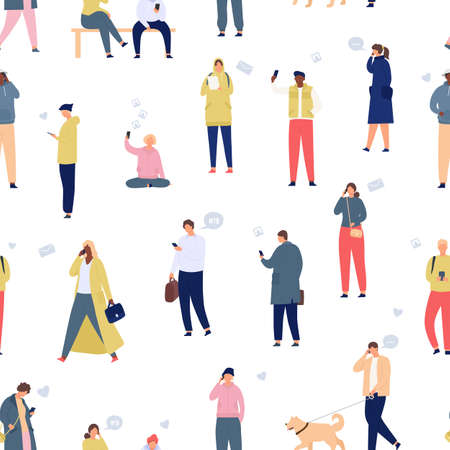 Crowd with phones seamless pattern. Walking people using smartphones and gadgets. Mobile lifestyle and communication cartoon vector concept. Man and woman with devices addiction, online life