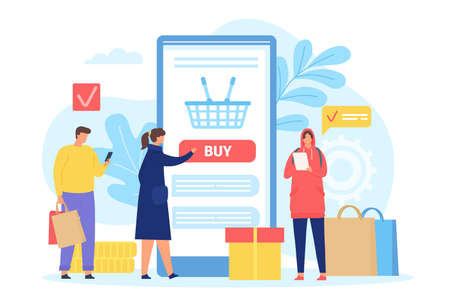 People buying in online shop. Smartphone screen with shopping basket. Poster with men and women with bags. Mobile store app vector concept. Characters ordering with cellphone in application