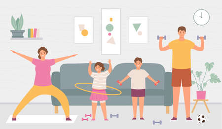 Sport family at home. Parents and kids do exercise in house interior. Indoor healthy lifestyle for active adults and children vector concept. Father and with dumbbells, daughter with hoop