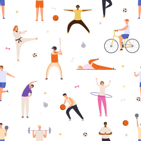 People exercise seamless pattern. Active man and woman do yoga, sport, ride bicycle and play basketball. Flat healthy lifestyle vector print. Characters doing karate, playing baseball and football