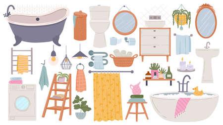 Bathroom furniture. Modern scandinavian bathtub, sink and toilet. Flat hygge bath interior elements, towels, mirrors and washer, vector set