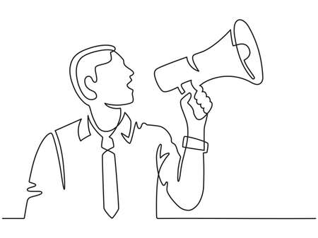 Continuous line man with megaphone. Male silhouette screams in loudspeaker. Businessman hires employee, protests or announces vector concept