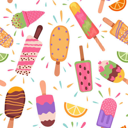 Ice creams seamless pattern. Summer holidays with   ice cream cones and frozen chocolate dessert. Cartoon sweet food vector texture