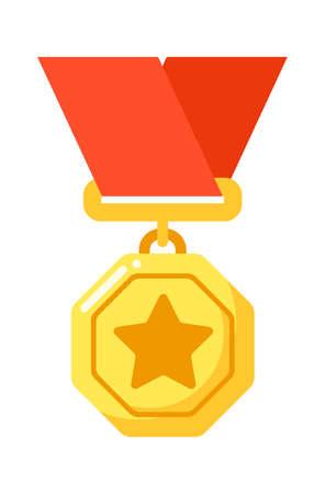 Golden star badge to awarding for achievement Иллюстрация