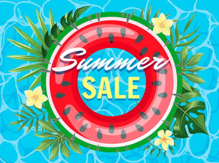 Poster summer sale with watermelon inflatable ring