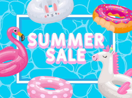 Discount season, summer sale, inflatable rings and toys