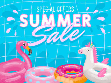 Special offers summer sale banner poster, pink flamingo and unicorn
