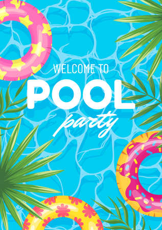 Banner swimming pool party welcome, top view