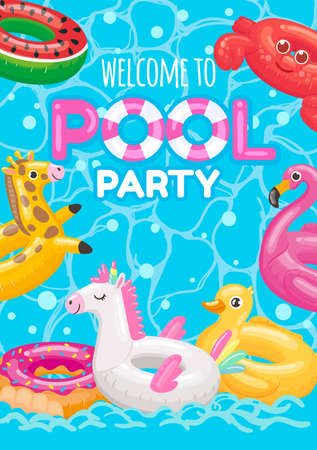 Welcome to pool party with inflatable rings toys
