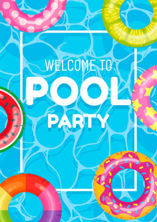 Banner poster invitation to pool party vector